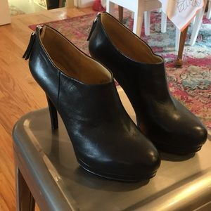 Nine West Black Leather Platform Booties